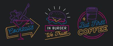 Restaurant sign in line style vector royalty free illustration