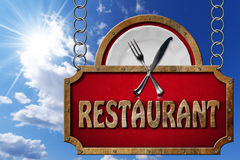 Restaurant Sign with Metal Chain Stock Photo