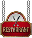 Restaurant Sign with Metal Chain Royalty Free Stock Images