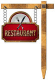Restaurant Sign with Metal Chain and Pole Royalty Free Stock Photo