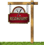 Restaurant Sign with Metal Chain and Pole Royalty Free Stock Image