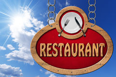 Restaurant Sign with Metal Chain Stock Images