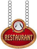 Restaurant Sign with Metal Chain Stock Photography