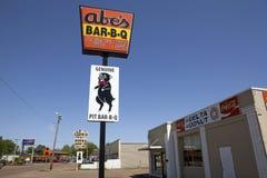 Restaurant sign, Mississippi. Abe's Bar-B-Q restaurant sign in Mississippi royalty free stock photography
