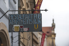 Restaurant sign in Prague, Czech Republic Royalty Free Stock Photos