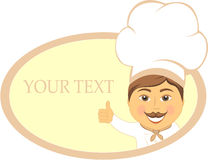 Restaurant sign with smile cook showing thumb up Stock Photos