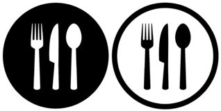 Restaurant sign with spoon, fork, knife icons royalty free illustration