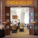 Restaurant signboard. Above the entrance royalty free stock photos