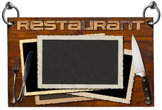Restaurant Signboard with clipping path Stock Images