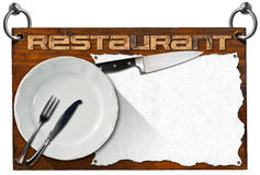Restaurant Signboard with clipping path Royalty Free Stock Images