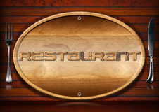 Restaurant Signboard with Cutlery Royalty Free Stock Image