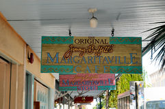 Restaurant signs in Key west. Image of restaurant signs in key west florida, outside Jimmy Buffett's Margarritaville restaurant Stock Images