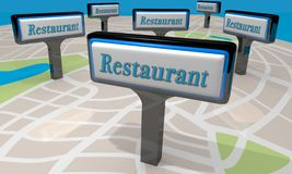 Restaurant Signs Map Locations Eat Dining Out Choices 3d Illustr. Ation Stock Photos