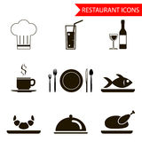 Restaurant sihouette icons set vector Royalty Free Stock Photo