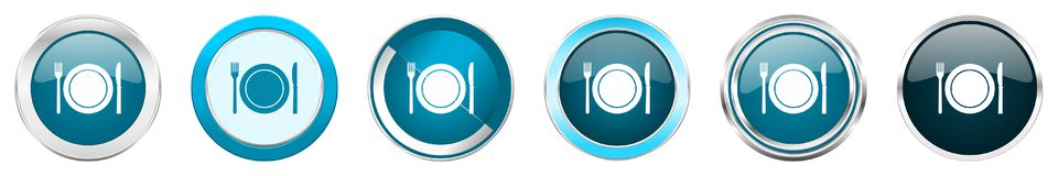Free Restaurant Silver Metallic Chrome Border Icons In 6 Options, Set Of Web Blue Round Buttons Isolated On White Background Stock Images - 147398184