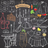 Restaurant sketch doodles set. Hand drawn elements food and drink, knife, fork, menu, chef uniform, wine bottle, waiter apron Draw Royalty Free Stock Image