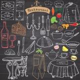 Restaurant sketch doodles set. Hand drawn elements food and drink, knife, fork, menu, chef uniform, wine bottle, waiter apron Draw royalty free illustration