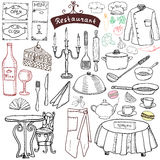 Restaurant sketch doodles set. Hand drawn elements food and drink, knife, fork, menu, chef uniform, wine bottle, waiter apron Draw Stock Photos