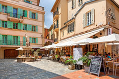 Restaurant on small square in Monaco-Ville. Stock Photo