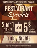 Restaurant special sale flyer template. Fun restaurant flyer advertisement design template with coupons Royalty Free Stock Image