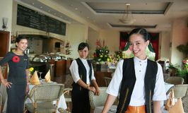 Restaurant staff. Three restaurant staff at work Royalty Free Stock Photos