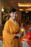 Restaurant staff in kimono stock photography