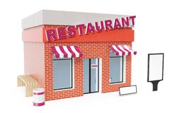 Restaurant Store with copy space board isolated on white background. Modern shop buildings, store facades. Exterior. Market. Exterior facade store building. 3D Royalty Free Stock Photos
