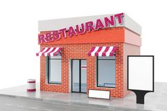 Restaurant Store with copy space board isolated on white background. Modern shop buildings, store facades. Exterior. Market. Exterior facade store building. 3D Stock Photo