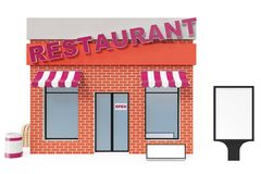 Restaurant Store with copy space board isolated on white background. Modern shop buildings, store facades. Exterior. Market. Exterior facade store building. 3D Royalty Free Stock Image