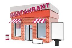 Restaurant Store with copy space board isolated on white background. Modern shop buildings, store facades. Exterior. Market. Exterior facade store building. 3D Royalty Free Stock Photography