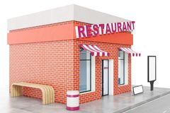 Restaurant Store with copy space board isolated on white background. Modern shop buildings, store facades. Exterior. Market. Exterior facade store building. 3D Stock Image