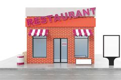 Restaurant Store with copy space board isolated on white background. Modern shop buildings, store facades. Exterior. Market. Exterior facade store building. 3D Royalty Free Stock Images