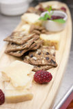 Restaurant Style Cheese and Cracker Platter Royalty Free Stock Photos