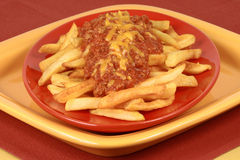 Restaurant  style chili fries Stock Photography