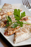 Restaurant Style Quesadilla Plate Royalty Free Stock Image