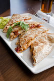 Restaurant Style Quesadilla Plate. A restaurant style presentation of a quesadilla Stock Photo