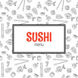 Restaurant sushi menu design. Menu template with hand drawn back Stock Image