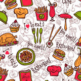 Restaurant symbols seamless pattern doodle sketch. Cafe bar fast food hamburger chips symbols seamless restaurant wrap paper pattern doodle sketch abstract Stock Images