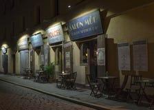 Restaurant on Szeroka Street - Krakow. Restaurant on Street Szeroka1  by night. Street on Kazimierz, the old Jewish quarter of Krakow (Poland Stock Image