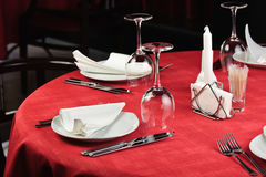 Restaurant table. Quality served restaurant table, selective focus Stock Image