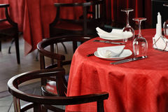 Restaurant table. Quality served restaurant table, selective focus Royalty Free Stock Image
