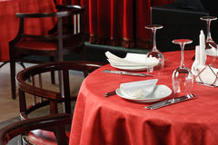 Restaurant table. Quality served restaurant table, selective focus Stock Photo
