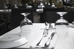 Restaurant table. Ready to serve Stock Photography