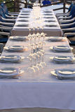 Restaurant table. Waits for the guests with a licht the sunset Stock Image