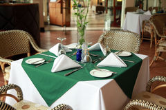 Restaurant table. Five star restaurant table setup ready to use Stock Photo