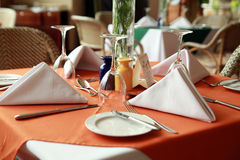 Restaurant table. Five star restaurant table setup ready to use Stock Image