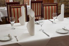 Restaurant table. Served restaurant table ready for customers Royalty Free Stock Photography