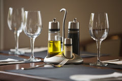 Restaurant table. Restaurant dining table, set and ready Royalty Free Stock Image
