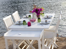 Restaurant table. In Bodrum , Turkey Royalty Free Stock Photography