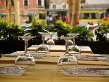 Restaurant table. Beautiful restaurant table in italy on venice Royalty Free Stock Photography